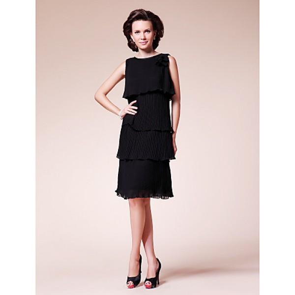 Sheath/Column Plus Sizes / Petite Mother of the Bride Dress - Black Knee-length Sleeveless Chiffon Mother Of The Bride Dresses