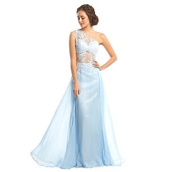 Formal Evening Dress Sky Blue A Line One Shoulder Floor Length Chiffon Lace