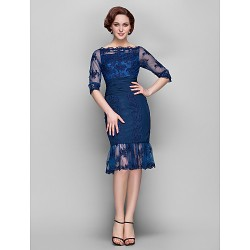 Sheath/Column Plus Sizes / Petite Mother of the Bride Dress - Dark Navy Knee-length Half Sleeve Chiffon / Tulle