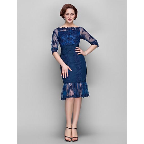 Sheath/Column Plus Sizes / Petite Mother of the Bride Dress - Dark Navy Knee-length Half Sleeve Chiffon / Tulle Mother Of The Bride Dresses