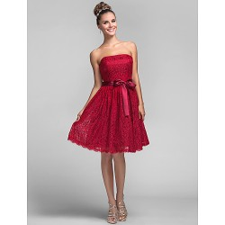 Knee-length Lace Bridesmaid Dress - Burgundy Plus Sizes / Petite A-line / Princess Strapless