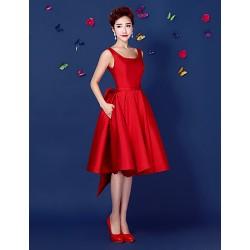 Cocktail Party Dress Ruby Plus Sizes A Line Straps Short Mini Satin