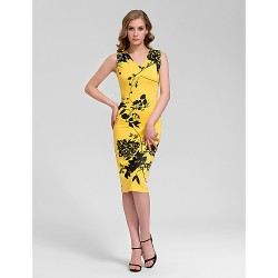 Cocktail Party Dress Print Plus Sizes Sheath Column V Neck Knee Length Cotton