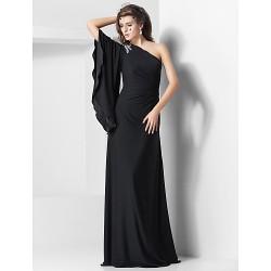 Formal Evening Military Ball Dress Black Plus Sizes Petite Sheath Column One Shoulder Floor Length Jersey