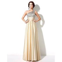 Formal Evening Dress Gold Plus Sizes Petite A Line One Shoulder Floor Length