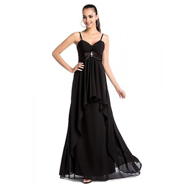 Formal Evening / Military Ball Dress - Black Plus Sizes / Petite Sheath/Column V-neck / Spaghetti Straps Floor-length Chiffon Special Occasion Dresses