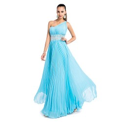 Formal Evening / Prom / Military Ball / Wedding Party Dress - Pool Plus Sizes / Petite Sheath/Column One Shoulder Floor-length Chiffon