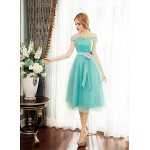 Cocktail Party Dress - Sage Ball Gown Off-the-shoulder Tea-length Tulle Special Occasion Dresses