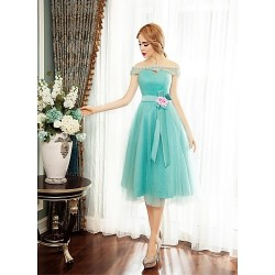 Cocktail Party Dress Sage Ball Gown Off The Shoulder Tea Length Tulle