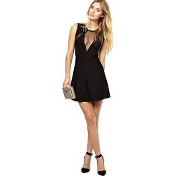Cocktail Party Dress Black Petite Sheath Column Jewel Short Mini Rayon