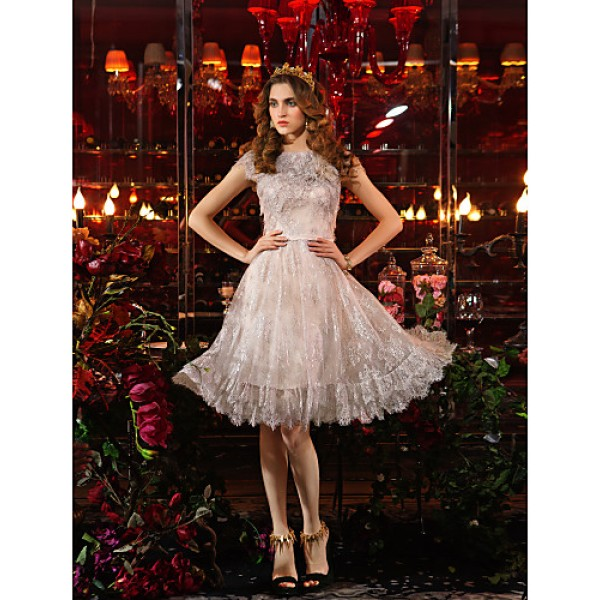 TS Couture Cocktail Party / Prom Dress Plus Sizes Sheath/Column Jewel Knee-length Lace Special Occasion Dresses
