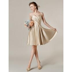 Knee Length Satin Bridesmaid Dress Champagne Plus Sizes Petite A Line Princess Sweetheart