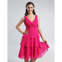 Knee-length Chiffon Bridesmaid Dress - Fuchsia Plus Sizes / Petite A-line / Princess V-neck / Straps