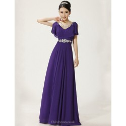 Formal Evening Dress - Ruby / Regency Plus Sizes A-line V-neck Floor-length Chiffon