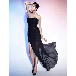 Cocktail Party Formal Evening Dress Black Plus Sizes Petite Sheath Column Strapless Sweetheart Floor Length AsymmetricalChiffon
