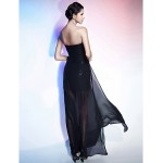TS Couture Cocktail Party / Formal Evening Dress - Black Plus Sizes / Petite Sheath/Column Strapless / Sweetheart Floor-length / AsymmetricalChiffon Special Occasion Dresses