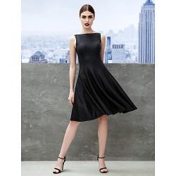 Cocktail Party Dress Black A Line Bateau Knee Length Jersey