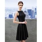Cocktail Party Dress - Black A-line Bateau Knee-length Jersey Special Occasion Dresses