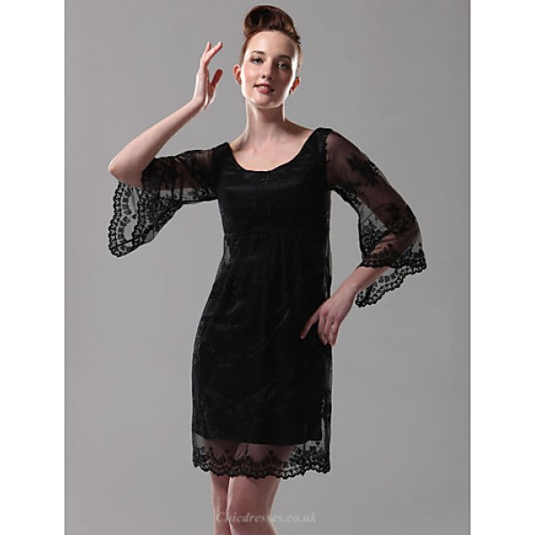 TS Couture Cocktail Party / Holiday Dress - Black Plus Sizes / Petite Sheath/Column Scoop Short/Mini Lace Special Occasion Dresses