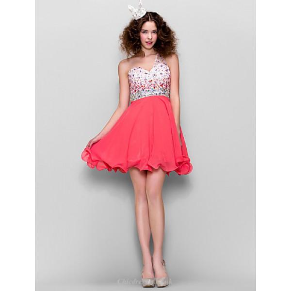 TS Couture Dress - Watermelon Plus Sizes / Petite A-line One Shoulder Short/Mini Chiffon Special Occasion Dresses