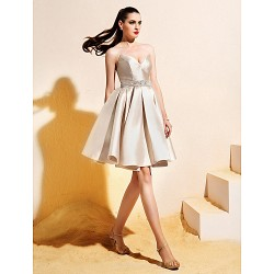 Homecoming Cocktail Party Dress - Champagne Ball Gown V-neck Knee-length Satin