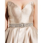 Homecoming TS Couture Cocktail Party Dress - Champagne Ball Gown V-neck Knee-length Satin Special Occasion Dresses