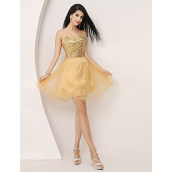 Cocktail Party Dress Gold Plus Sizes Petite A Line Sweetheart Knee Length