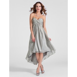 Cocktail Party Dress - Silver Plus Sizes / Petite A-line / Princess Sweetheart / Strapless Asymmetrical / Knee-length Chiffon