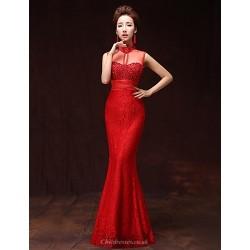 Formal Evening Dress Ruby A Line High Neck Floor Length Satin