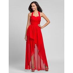 Asymmetrical Floor Length Chiffon Bridesmaid Dress Ruby Plus Sizes Petite A Line Princess Halter