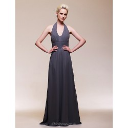 Formal Evening / Wedding Party Dress - Silver Plus Sizes / Petite Sheath/Column V-neck Floor-length Chiffon