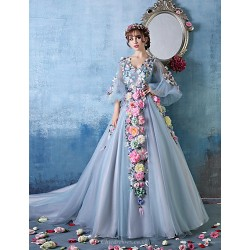 Formal Evening Dress Sky Blue Petite Ball Gown V Neck Cathedral Train Tulle Charmeuse