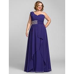 Formal Evening / Prom / Military Ball Dress - Regency Plus Sizes / Petite A-line One Shoulder Floor-length Chiffon
