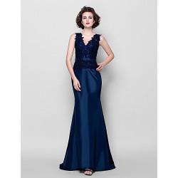 Trumpet Mermaid Plus Sizes Petite Mother Of The Bride Dress Dark Navy Sweep Brush Train Sleeveless Taffeta Lace