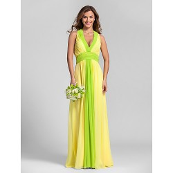 Floor Length Georgette Bridesmaid Dress Daffodil Plus Sizes Petite A Line Halter