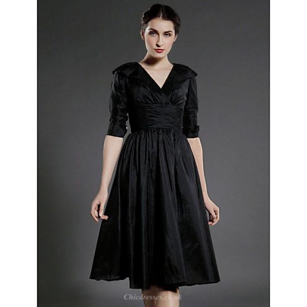 A-line Plus Sizes / Petite Mother of the Bride Dress - Black Knee-length Half Sleeve Taffeta Mother Of The Bride Dresses