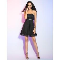 Cocktail Party / Holiday Dress - Black Plus Sizes / Petite A-line / Princess Strapless Short/Mini Chiffon