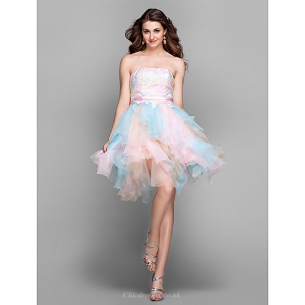 Cocktail Party / Prom / Holiday Dress - Multi-color Plus Sizes / Petite A-line Strapless Knee-length Lace / Tulle Special Occasion Dresses