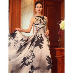 Formal Evening Dress Print Plus Sizes Princess Bateau Floor Length Silk