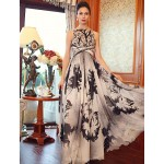 Formal Evening Dress - Print Plus Sizes Princess Bateau Floor-length Silk Special Occasion Dresses