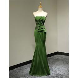 Dress Clover Sheath Column Strapless Floor Length Satin