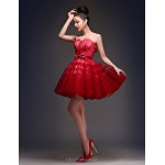 Cocktail Party Dress - Burgundy Plus Sizes Ball Gown Scoop Short/Mini Lace / Tulle Special Occasion Dresses