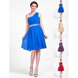 Knee Length Chiffon Bridesmaid Dress Royal Blue Ruby Champagne Grape Plus Sizes Petite A Line Princess One Shoulder