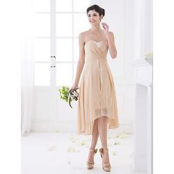 Asymmetrical Chiffon Bridesmaid Dress Champagne Plus Sizes Petite A Line Sweetheart