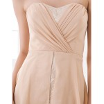 Asymmetrical Chiffon Bridesmaid Dress - Champagne Plus Sizes / Petite A-line Sweetheart Special Occasion Dresses