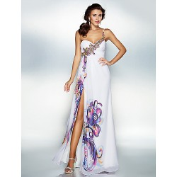 Dress Print Plus Sizes Petite A Line Sweetheart Floor Length Chiffon