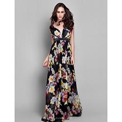 Formal Evening Dress Print Plus Sizes Petite Sheath Column V Neck Floor Length Chiffon