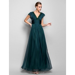 Formal Evening Military Ball Dress Jade Plus Sizes Petite A Line V Neck Floor Length Chiffon