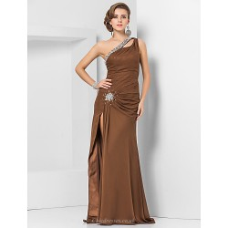 Formal Evening Military Ball Dress Brown Plus Sizes Petite Sheath Column One Shoulder Floor Length Chiffon
