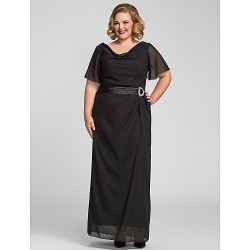 Formal Evening / Prom / Military Ball Dress - Black Plus Sizes / Petite Sheath/Column Cowl Floor-length Chiffon